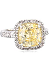 """CZ by Kenneth Jay Lane """"Classic"""" Canary Yellow Cushion Pave Cubic Zirconia Border Ring, Size 7, 6 CTTW"""
