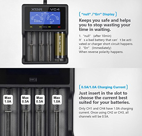 xtar vc4 li ion ni mh battery charger premium usb lcd display rh amazon ca