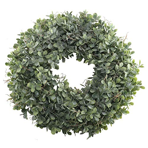 (SODIAL Artificial Green Leaves Wreath - 17.5 Inch Front Door Wreath Shell Grass Boxwood Wreath for Wall Window Party Decor)
