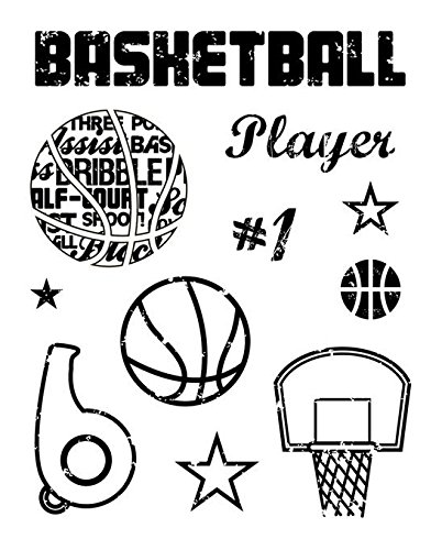 KAREN FOSTER Design Scrapbooking Clear Stamps, Basketball, 12 x 12