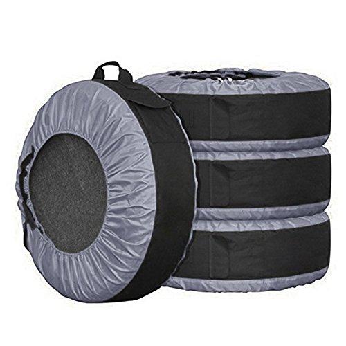 タイヤバッグ cozyswan タイヤカバー タイヤトート 4枚セット/フェルトパッド1枚付き 【ブラック】 (ブラック) B07CKKV2ZNブラック