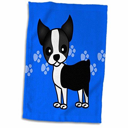 (3D Rose Cute Boston Terrier Blue Paw Print Background Towel, 15 x 22)