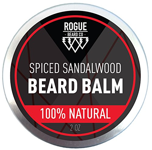 Beard Balm by Rogue Beard Company – Sandalwood Leave In Conditioner with Natural Oils for Moustache Grooming and Beard Growing for Men – Best Beard Balm – 2 oz