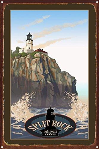 Lighthouse Rock Split Pictures (Northwest Art Mall Split Rock Lighthouse Rustic Metal Art Print by Mike Rangner (12