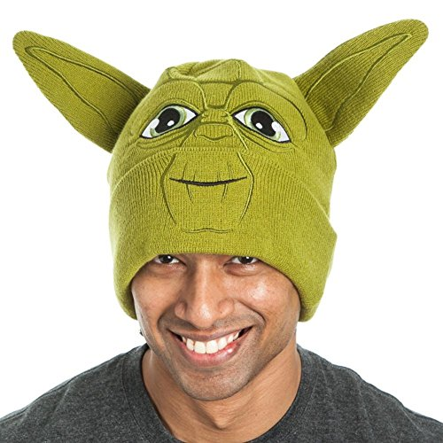 Star Wars Yoda Face with Ears Green Adult Beanie