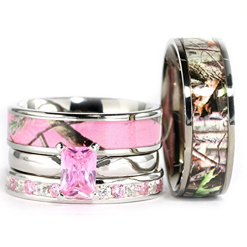 KingswayJewelry 4pcs His Hers Camo Pink Radiant Stainless Steel Sterling Silver Wedding Ring Set (Size His 8; Hers 5)
