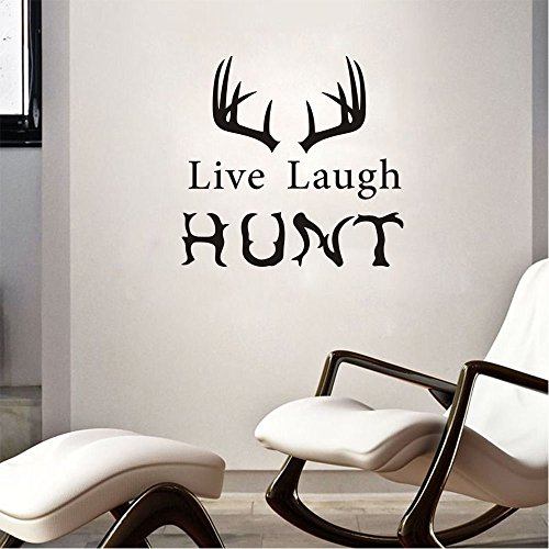 Arttop Man Room Hunting Wall Decal Live Laugh Hunt With Antlers Wall Stickers Lettering Stickers Inspirational Quotes For Man Wall Sticker Home Decor