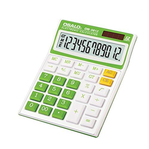 [해외]계산기 12 자리 멋쟁이 탁상 비즈니스 계산기 컬러 태양 전지배터리 2 전원 OS-9812VC 그린 / Calculator 12 digit Fashionable tabletop business Calculator colorful solarbattery 2 power OS-9812VC Green