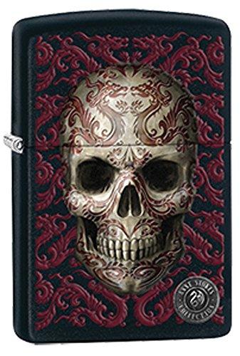 Tattoo Skull Art Anne Stokes Black Matte Zippo Lighter