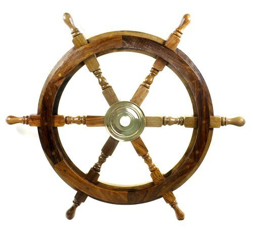 18'' Ship Wheel Wooden: Pirate Boat Nautical Fishing by India Overseas Trading Corp.