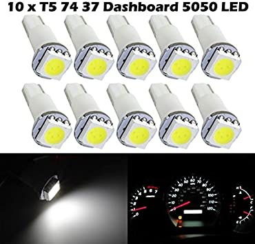 10x 6000K White T5 17 18 74 LED Bulb Interior Instrument Panel Dashboard Light