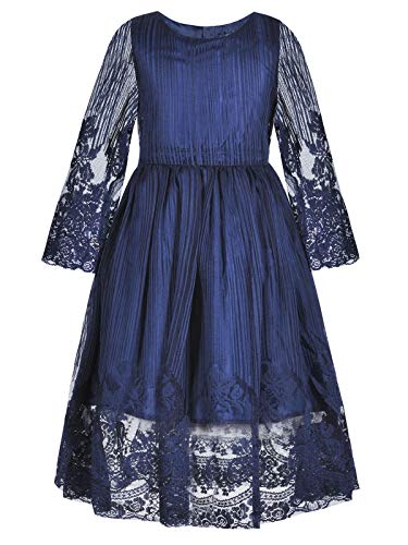 Bonny Billy Girl's Kids Classy Embroidery Lace Maxi Flower Girl Dress 10-11 Years Navy Blue