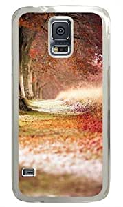 Forest Trees Path Fallen Leaves Polycarbonate Hard Case Cover for Samsung S5/Samsung Galaxy S5 Transparent