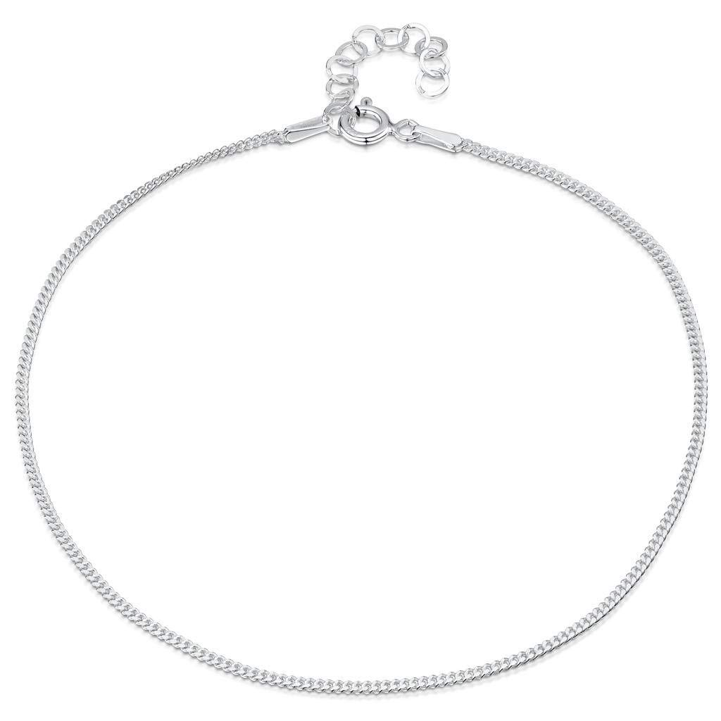 Amberta 925 Sterling Silver Adjustable Anklet - Classic Chain Ankle Bracelets - 9