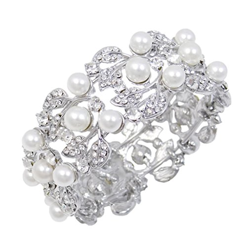 (EVER FAITH Flower Ivory Color Cream Simulated Pearl Bracelet Clear Austrian Crystal Silver-Tone)