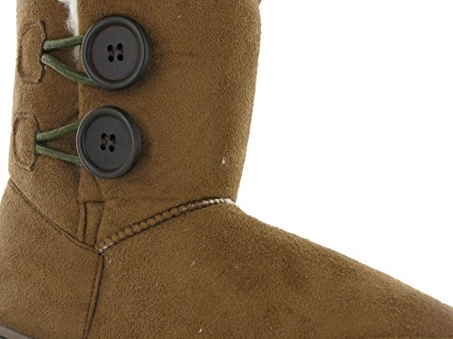 Boots Ella Mid Rita Flat Twin Fur Bootee Lined Button Fleece Winter Calf Chestnut Womens RnwS7qTR6