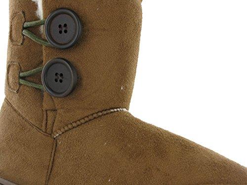 Boots Ella Mid Rita Flat Twin Fur Bootee Lined Button Fleece Winter Calf Chestnut Womens RnwS7qTR6