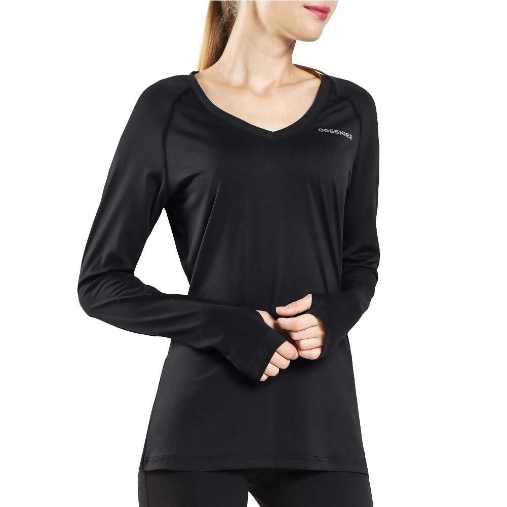 182155bc7 Amazon.com  Ogeenier Women s Dry Fit Long Sleeve Athletic Workout Yoga Shirts  Running Gym Tops with Thumbholes V Neck  Clothing