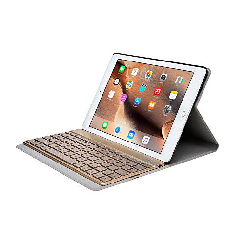 iPad Air 2 Keyboard case, COOPER AURORA FOLIO Bluetooth Detachable Removable Backlit QWERTY Wireless Keyboard Carrying Case Cover Folio with Stand for Apple iPad Air 2 (Gold) (Top Ipad Air 2 Cases compare prices)