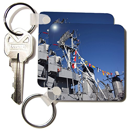 Danita Delimont - Tall Ships - MA, Boston. Tall ships, Charlestown Navy Yard WWII - US22 WBI0753 - Walter Bibikow - Key Chains - set of 2 Key Chains (kc_91043_1) ()