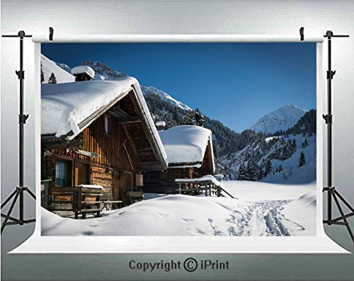 Winter Photography Backdrops Wooden Houses on Austrian Mountains Snowy Forest Cottage Holiday Destination Photo,Birthday Party Background Customized Microfiber Photo Studio Props,8x8ft,