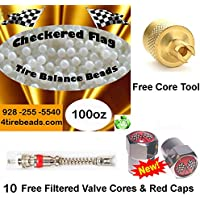 Tire Balance Beads 100oz Bulk tire balancing beads with 10 FREE filtered cores, red caps,1 gold core tool