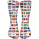 All Countries National Flag Unisex Performance Crew Socks Protect The Wrist For Cycling Moisture Control Elastic Socks 11.8inch