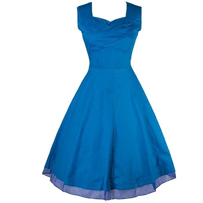 WintCO Vestidos Plisados de Estilo de Audrey Hepburn 50s Rockabilly Vestidos de Lunares con Escote Cuadrado