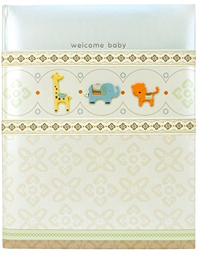 C.R. Gibson Giraffe, Elephant and Tiger 'Welcome Baby' First Year Baby Memory Book for Newborns, 60 pgs, 9'' W x 11.125'' H