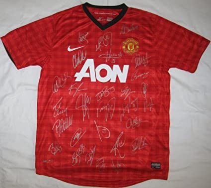 5d4811cf41a 2012-13 Manchester United Team Signed Jersey - 28 Sigs - Wayne Rooney -  Autographed