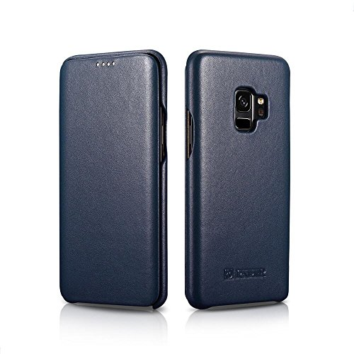 - Galaxy S9 Leather Case, Bpowe ICARER Luxury Series Premium Genuine Leather Side-Open Folio Flip Magnetic Closure Protection Case Cover for Samsung Galaxy S9 (Blue)
