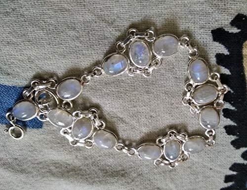 Rainbow Moonstone Bracelet, 925 Sterling Silver, Yoga Bracelet, Goddess Stone, Ethnic Bracelet, Meditation Bracelet, Bridal Bracelet, Antique Jewelry, Fine Jewelry, Tennis Bracelet Party Wear Bracelet