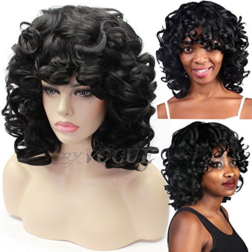 [Exvogue Fluffy Kinky Short Curly Wig Synthetic Hair Black Wig with Bangs African American Wigs for] (Curly Wigs For Black Hair)