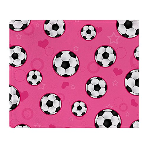 CafePress Cute Soccer Ball Print Pink Soft Fleece Throw Blanket, 50