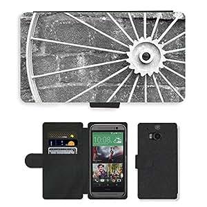 PU LEATHER case coque housse smartphone Flip bag Cover protection // M00152130 Ronda Antecedentes Hierro Antiguo Negro // HTC One M8