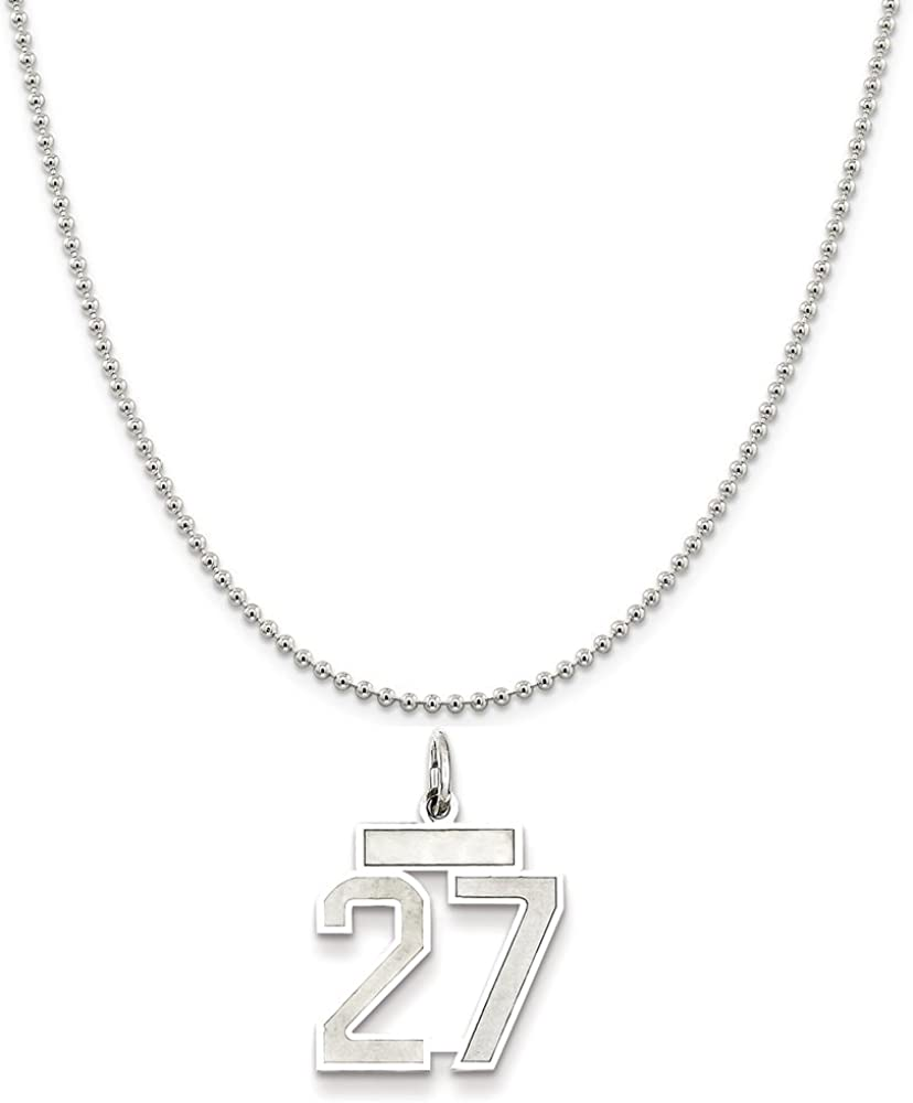 Sterling Silver Small Satin Number 27 on a Sterling Silver Cable Snake or Ball Chain Necklace