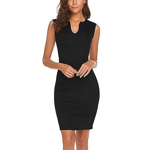 696e1b17f8060 Makaor Valentine Office Work Dresses Women Pencil Sleeveless Casual Bodycon  Dress Black