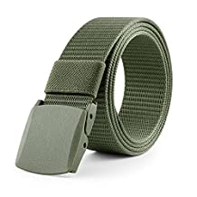 JasGood Utility Nylon Canvas Breathable Military Tactical Style Outdoor Army Duty Belt With Plastic Buckle JA015_Green