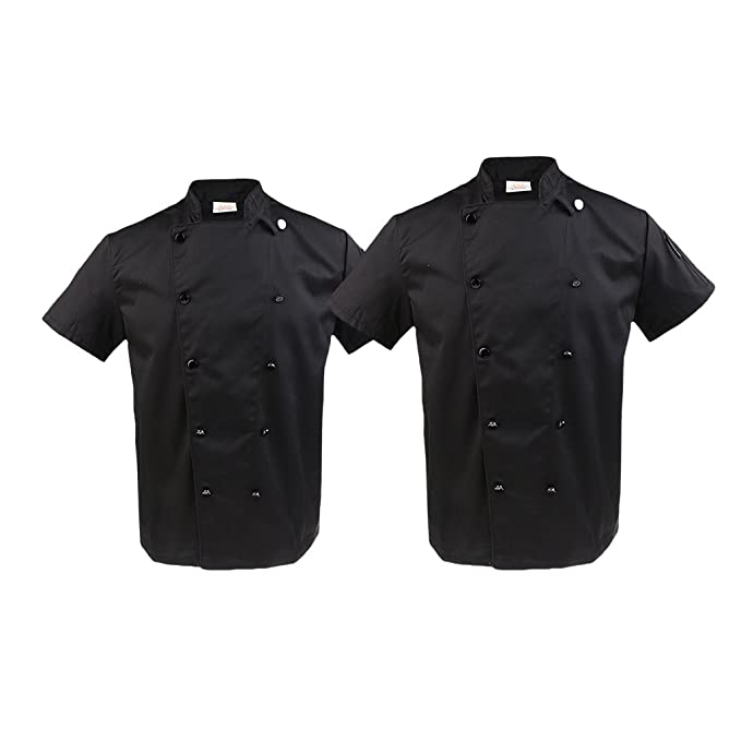 Homyl 2x Abrigo Túnica Doble Botonadura Cómodo Manga Corta De Moda Hotel Restaurante Uniformes Chef Cocinero - Negro, Única: Amazon.es: Ropa y accesorios