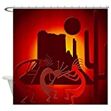 CafePress Kokopellis in the Southwest Red Shower Curtain Decorative Fabric Shower Curtain (69''x70'')