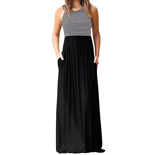 e95ef3cb3e0f Lelili Women Summer Long Maxi Dress Sexy Stripe Sleeveless Round Neck  Ruched Swing Floor Length Dress
