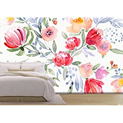 wall26 - Illustration - Watercolor Floral Botanical Pattern and Seamless Background - Removable Wall Mural | Self-adhesive Large Wallpaper - 100x144 inches