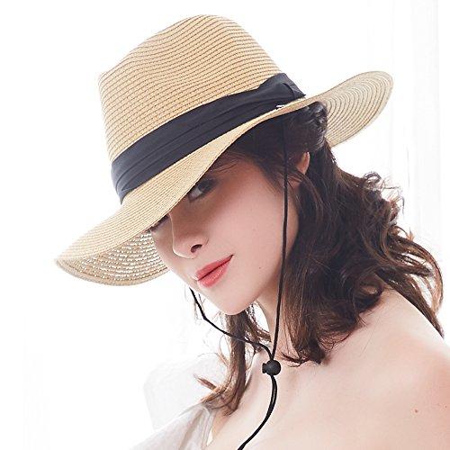d3b4ad6b909 FURTALK Panama Roll up Hat Fedora Beach Sun Hat UPF50+ Braid Straw Short  Brim Jazz Panama