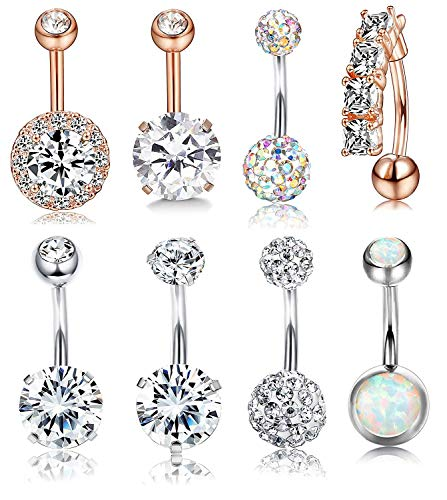 Udalyn 8 Pcs Rhinestone Pearl Navel Rings Belly Button Ring Dangle Body Jewelry (B:8PCS Style2)