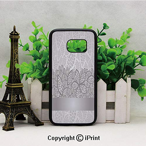 Lace Inspired Flower Motifs Bridal Composition Stylized Leaves Wedding Theme Decorative Galaxy S7 Case,Heavy Duty Hybrid TPU Protection Case Cover for Samsung S7 2019 Hard Back Shock Drop Proof Impact