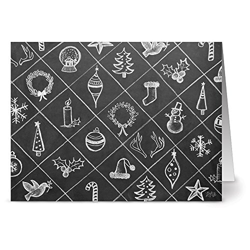 Holiday Trinkets - 36 Chalkboard Note Cards - Blank Cards - Kraft Envelopes Included