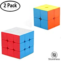 Yojoloin Speed Cube,Magic Cube Set of 3x3x3 2x2x2 Cube 3D Puzzle Magic Speed Cube Smooth Twist Cube Puzzle Easy Turning For Brain Trainning Teaser Toy Best Gift For Kids Adults (2 PACK-WHI)