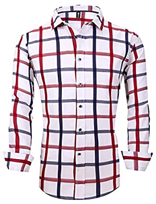 FRTCV Button Down Shirts for Men Mens Slim Fit Casual Business Dress Shirts