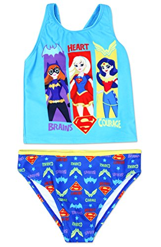 Dreamwave Girls' Two Piece Swim Suit Performance Long Lasting UPF 50 Official Licensed Product Bathing Suit (6X, Dc Superhero Girls) -