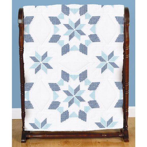 Jack Dempsey Stamped White Quilt Blocks, 18-Inch by 18-Inch, Interlocking XX Western Star, 6-Pack Hoop Quilt Block